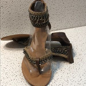 EXOTIC CHAIN & RHINESTONE Accented Sandal Size 9